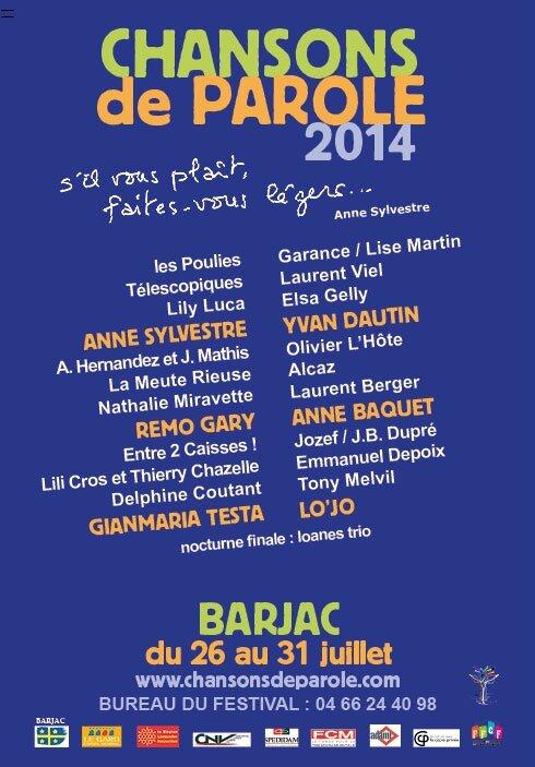 BARJAC festival Chansons de parole, mardi 29 juillet 2014
