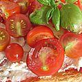 Tarte aux tomates cerise, chèvre frais