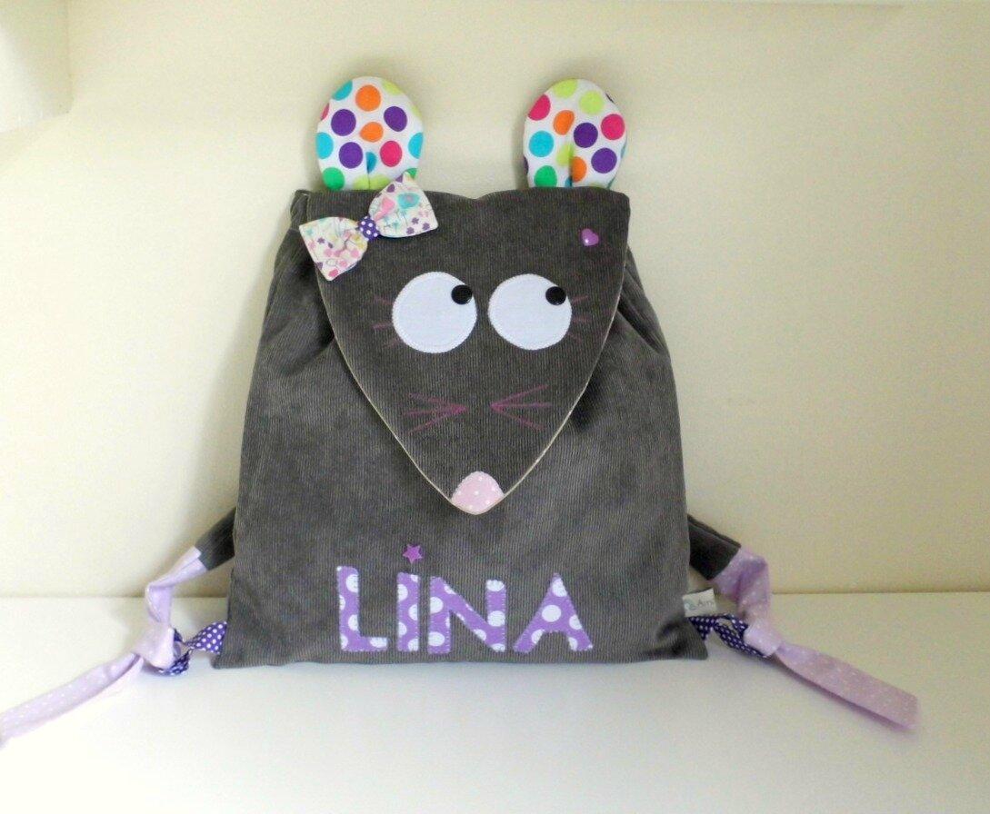 Sac maternelle souris gris mauve violet personnalisé prénom Lina