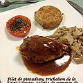 Filet de pintadeau, tricholum de la saint-georges, galette de pommes de terre et tomate grillée