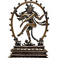 A rare bronze figure of shiva nataraja, south india, tamil nadu, chola period, 13th century