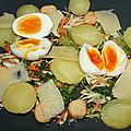 Salade croquante, oeufs, pomme de terre, saint mont des alpes