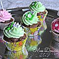 Cupcake's chocolat-pistache, chocolat-cerise-barbe à papa,