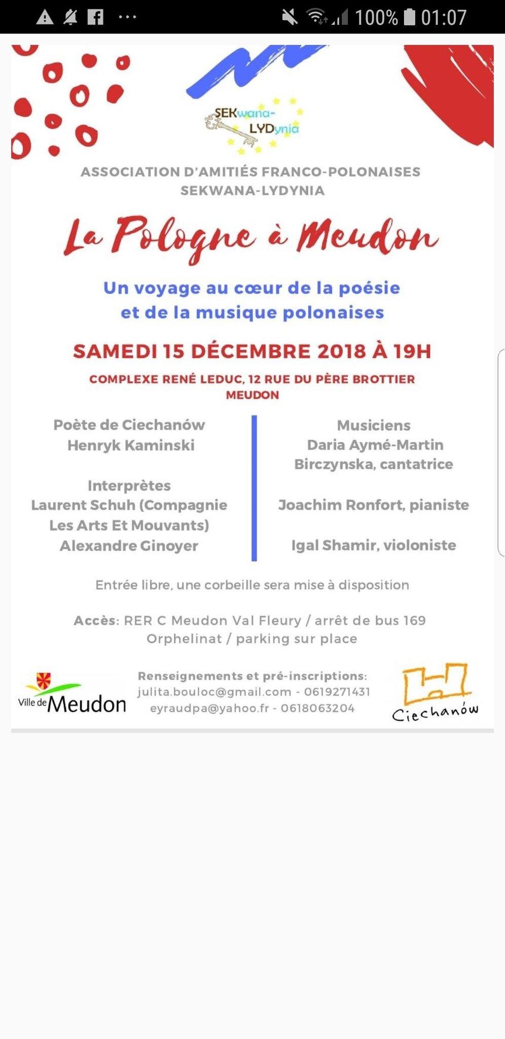 Invitation à une soirée musique et poésie polonaises le 15 décembre à Meudon avec Joachim Ronfort et autres artistes