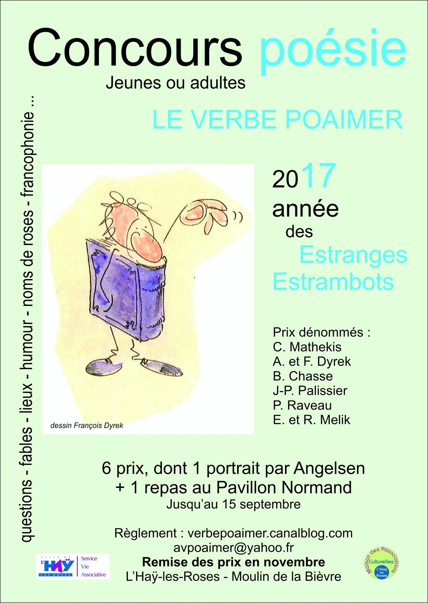 Poèmes estrambots, nouveau et dernier délai : 17 octobre 2017 ! Fables, poèmes cocasses, excla, interrog, lieux, nomderoses