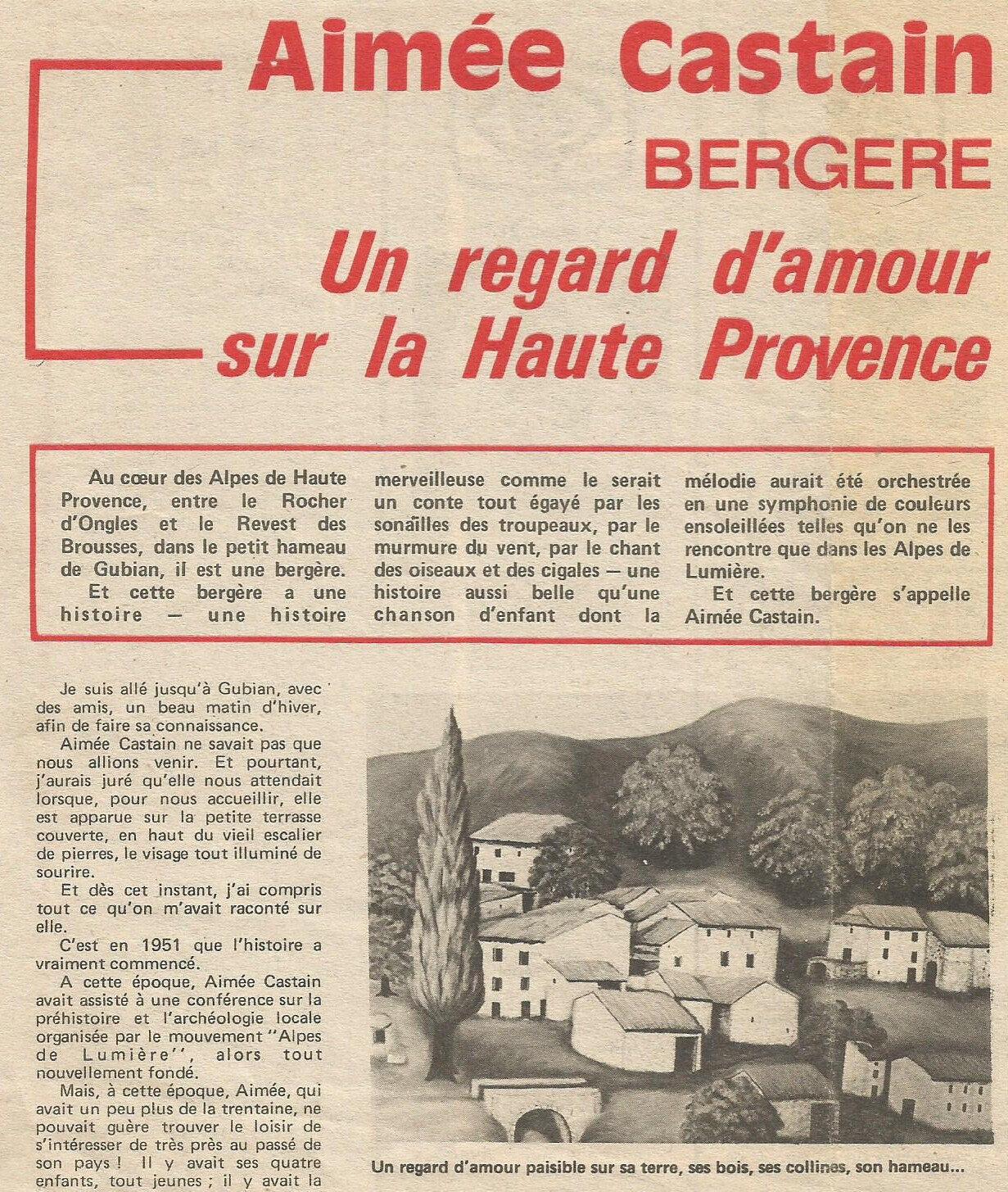 Aimée Castain - 1917-2015 - bergère et peintre au regard neuf.