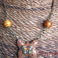 Collier FIMO papillon multi orange (N)