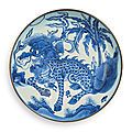 A fine and large blue and white 'qilin' dish, qing dynasty, shunzhi period (1644-1661)