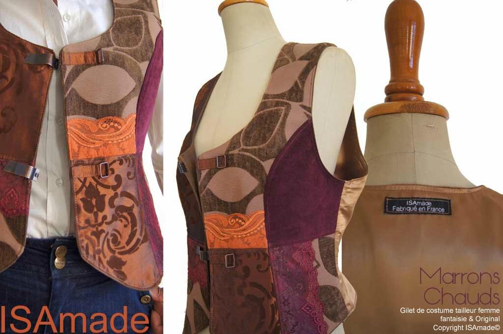 Gilet sans manches costume tailleur femme marron Bordeaux velours dentelle mod 01C copier