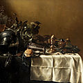 Attributed to pieter claesz., an upturned pewter jug, silver beaker, a candlestick with a pewter platter, a glass cup and cover,