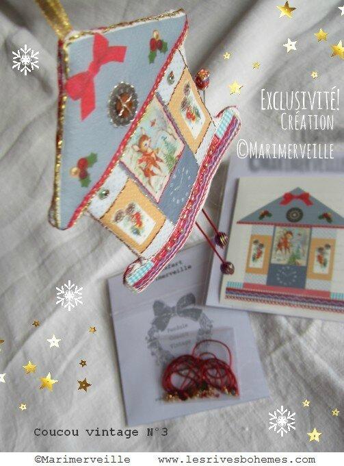 Marimerveille coucou vintage de Noël (kit transfert)
