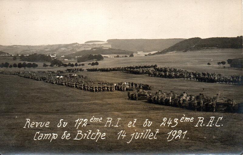Revue du 172e RI et du 243e RAC, Camp de Bitche 14 juillet 1921