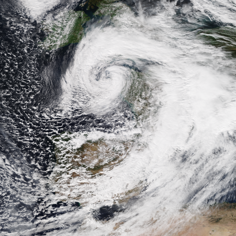 Storm Alex, the first storm of the 2020–21 European windstorm season, making landfall in Brittany, France on 2 October 2020 while at peak intensity (auteur author Nasa Worldview)