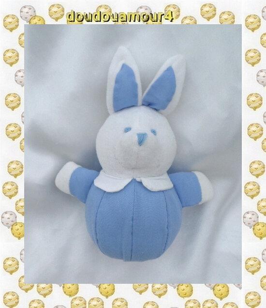 Doudou Peluche Lapin Boule Bleu Et Blanc Rivadouce 18 cm