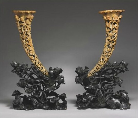 A pair of large rhinoceros horn carvings, Qing Dynasty, 19th century
