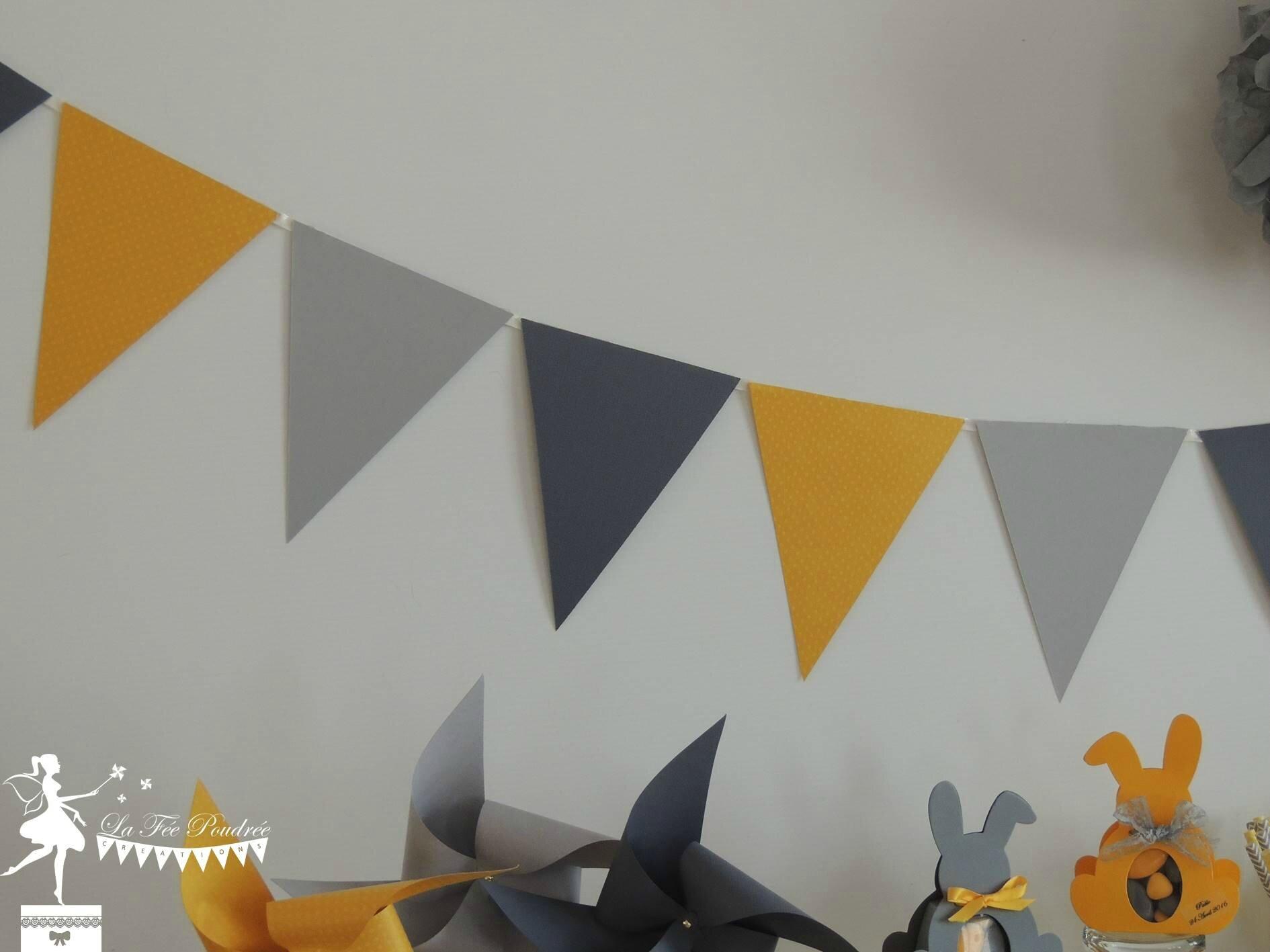 guirlande fanion jaune gris décoration mariage baby shower baptême