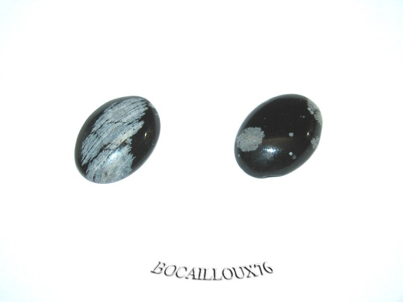 CABOCHON 13x18 OBSIDIENNE NEIGE 8 - LOT DE 2