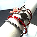 composition bracelets rouge rose pw
