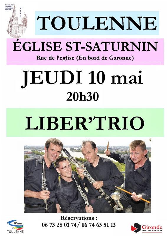 concert LIBER'TRIO à TOULENNE jeudi 10 mai 2018