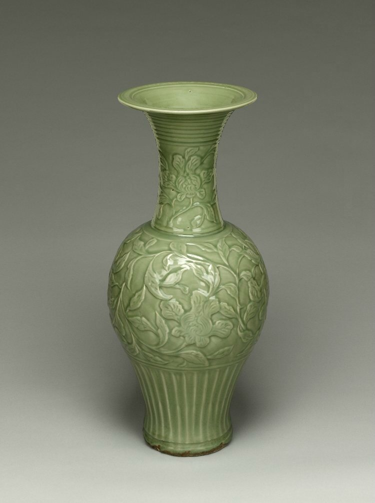 Large dated temple vase, Yuan dynasty, dated around AD1327, Longquan ware