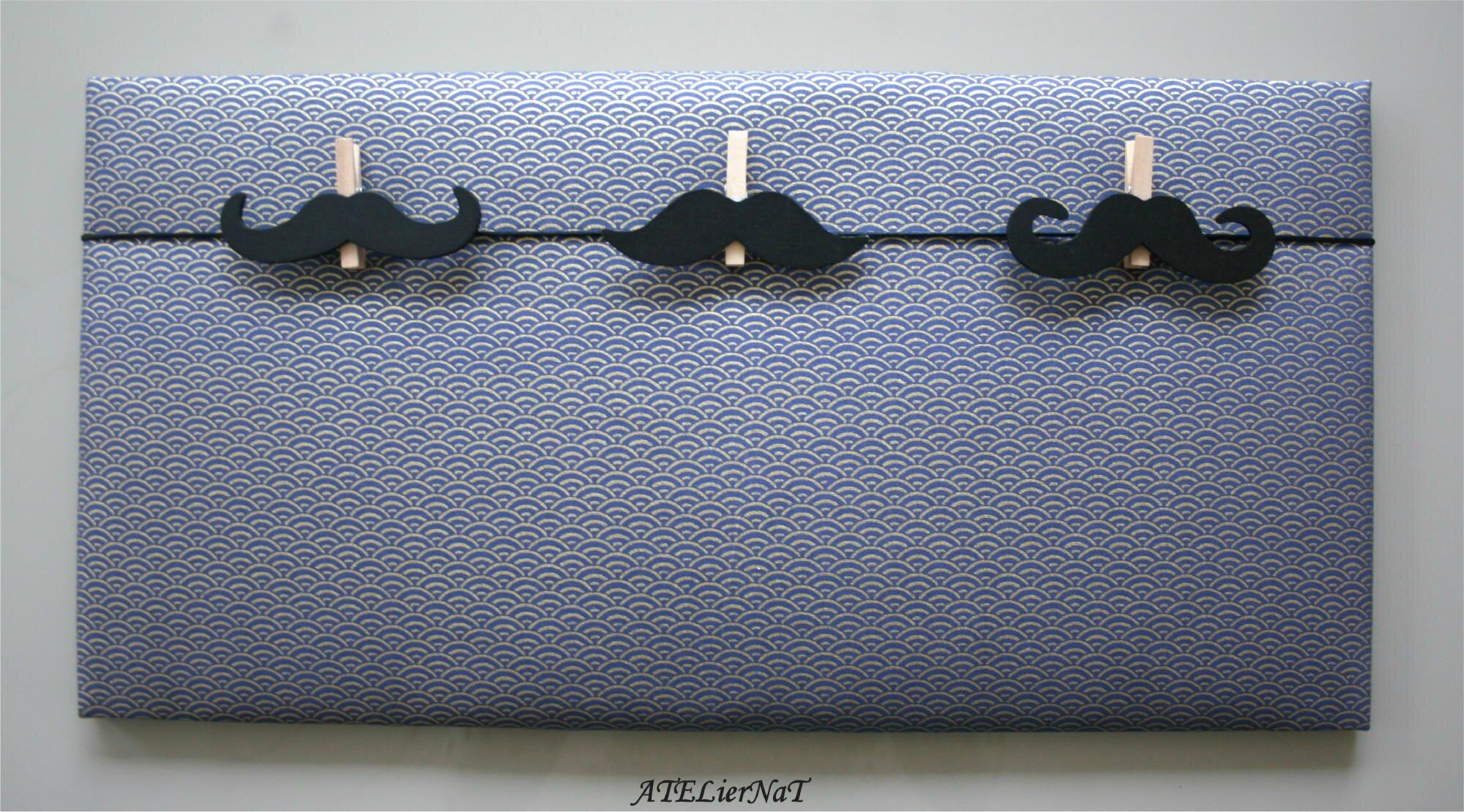 Pêle-mêle gris doré pinces moustache