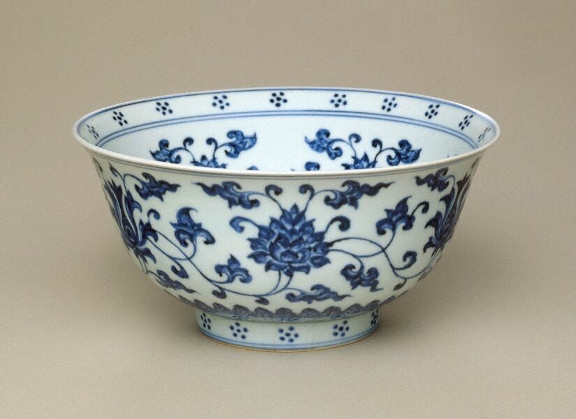 Bowl, circa 1455, China, Ming dynasty (1368 - 1644), Jingtai period (1449-1457), Jingdezhen, Jiangxi Province, porcelain with underglaze blue decoration, 10.3 x 21.3 cm. Purchased 1975, 56.1975. Art Gallery of New South Wales, Sydney (C) Art Gallery of New