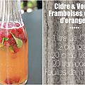 Cocktail cidre et vodka au jus d'orange et framboises