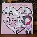 Coeur puzzle fille avec des coeurs