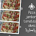 Pizza jambon, tomates et olives