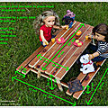 Dimensions d'une table de pique-nique pour poupée 46 cm - dimensions picnic table for 18