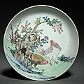 Dish with two cocks in landscape, china, jiangxi province, jingdezhen kilns, qing dynasty, yongzheng mark and period
