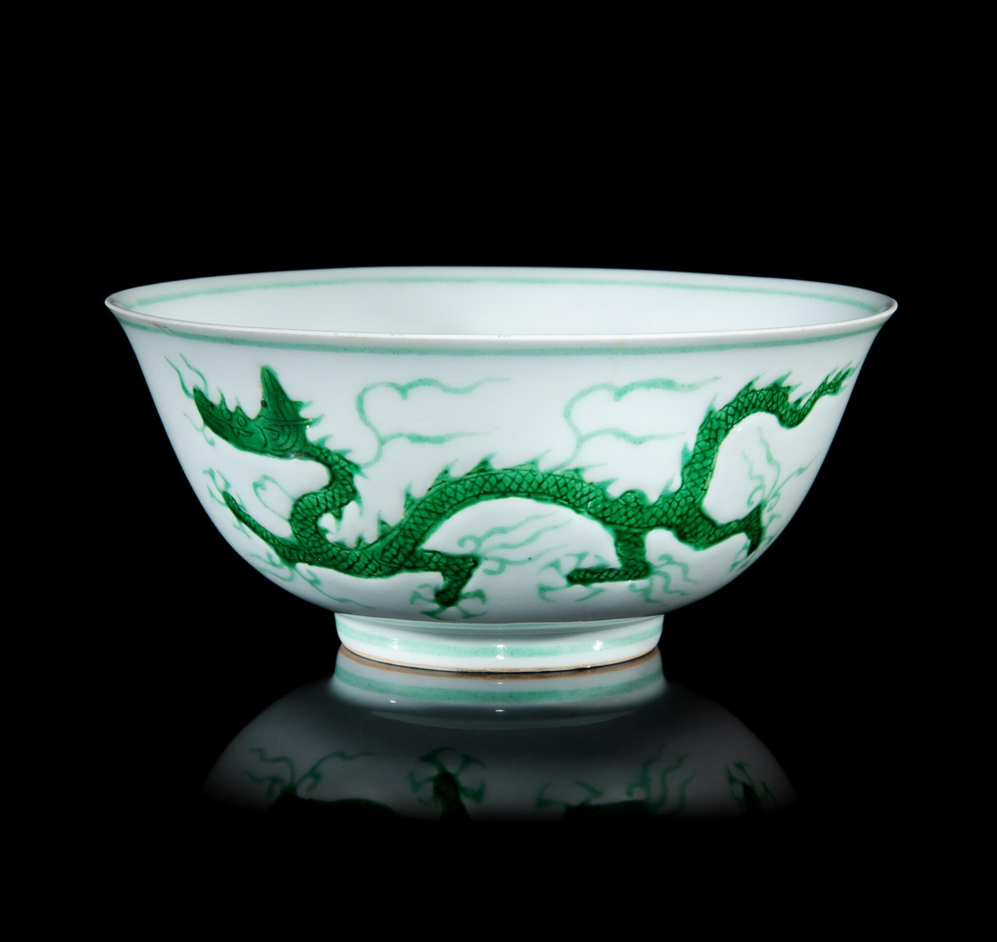 A Rare Incised and Green Enameled Porcelain 'Dragon' Bowl, Zhengde Period (1506-1521)
