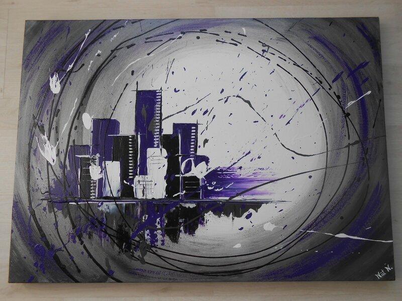 tableau toile home d co abstrait escape 2 gris m tal blanc noir violet couleur passion. Black Bedroom Furniture Sets. Home Design Ideas