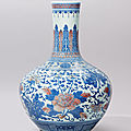 A copper-red decorated and underglaze-blue 'peony' vase, qing dynasty, 19th century