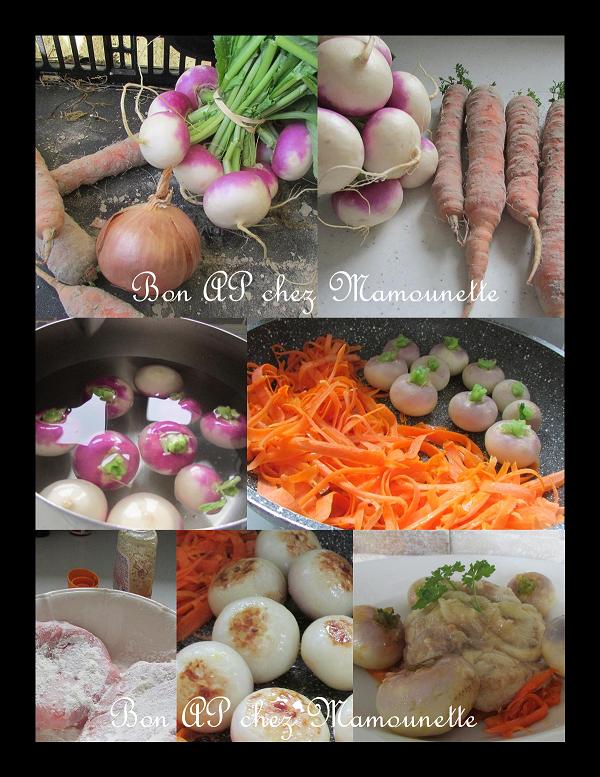 Osso buco de veau aux navets nouveaux et carottes de sable-