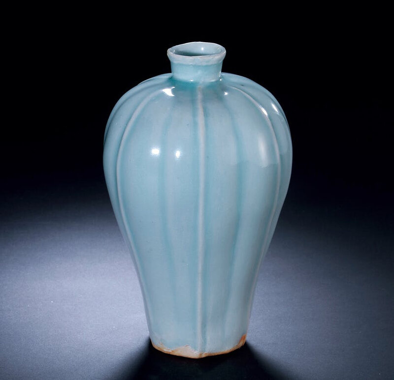 A Hutian Yingqing-Glazed Lobed Vase, Meiping, Southern Song or Yuan Dynasty, 12th - 13th Century