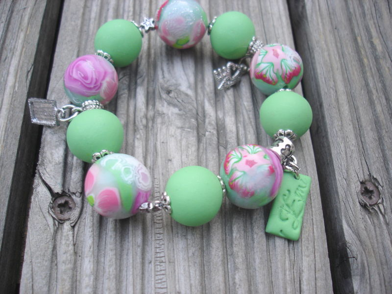 bracelet vert/rose