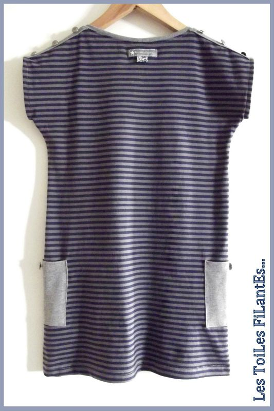 Robe plage jersey rayé bleu et taupe2