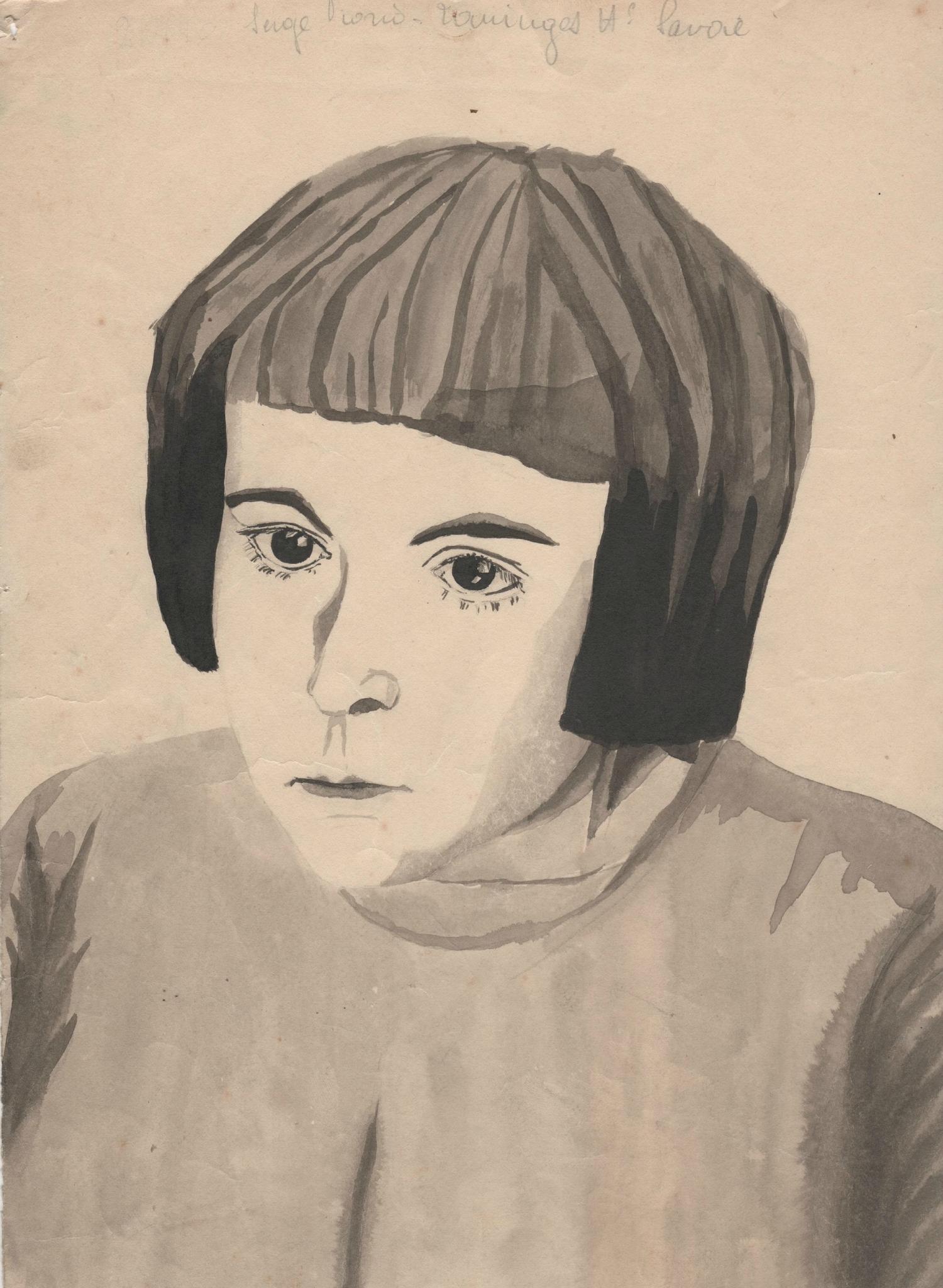 Portrait d'Aline Giono enfant au lavis d'encre noire.