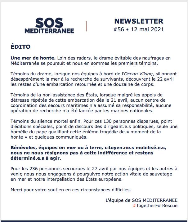 Newsletter SOS Méditerranée 12 mai 2021