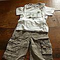 Tenue pantalon t-shirt m.courtes garçon 18 mois 2€