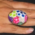 Bague en fimo multicolore