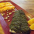 Cabillaud en croûte d'herbes et d'agrumes, mousseline de carottes à l'orange