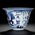 A blue and white three-ram 'sanyang kaitai' bowl, qing dynasty, kangxi period (1662-1722)
