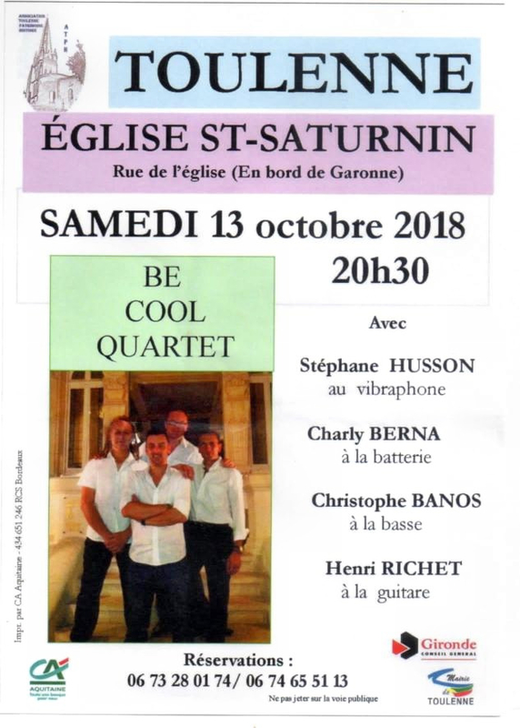 BE COOL QUARTET en concert à TOULENNE 13 octobre 2018