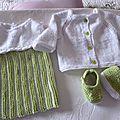 robe gilet et chaussons layette bébé modèle Paquerette taille 1 à 3 mois prix 25€