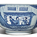 A rare blue and white 'silk production' bowl, kangxi mark and period (1662-1722)