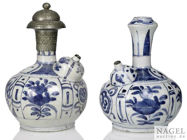 Two blue and white porcelain kendi, China, Wanli period, one with metal mount