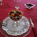 Coupe sucrée/salée crabe, betterave, fruits