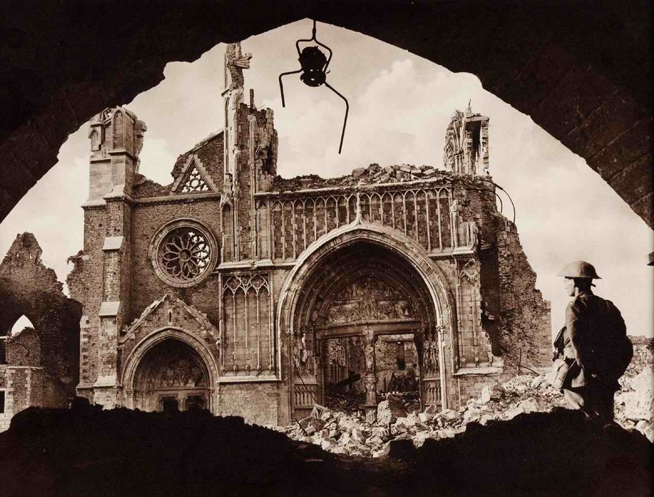The ruined Cathedral, Ypres, viewed from the Cloth Hall